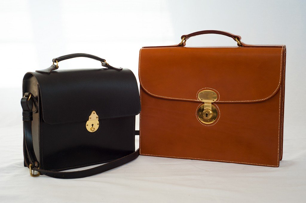 Lymington Chestnut Lady's Briefcase and Ringwood Black Lady's Briefcase Handbag